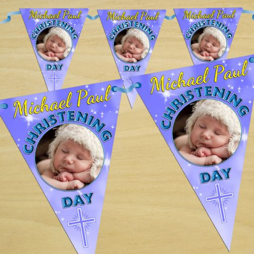 Personalised Boys Christening Baptism Flag PHOTO Banner Bunting - N38